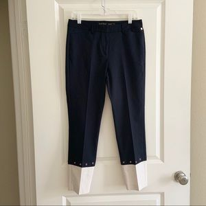 Ivanka Trump Blue White Cropped Capri Pants 8